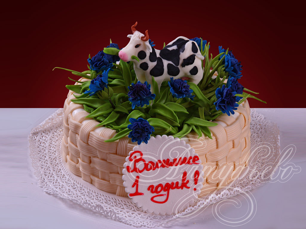 Детский торт «Буренка в васильках»