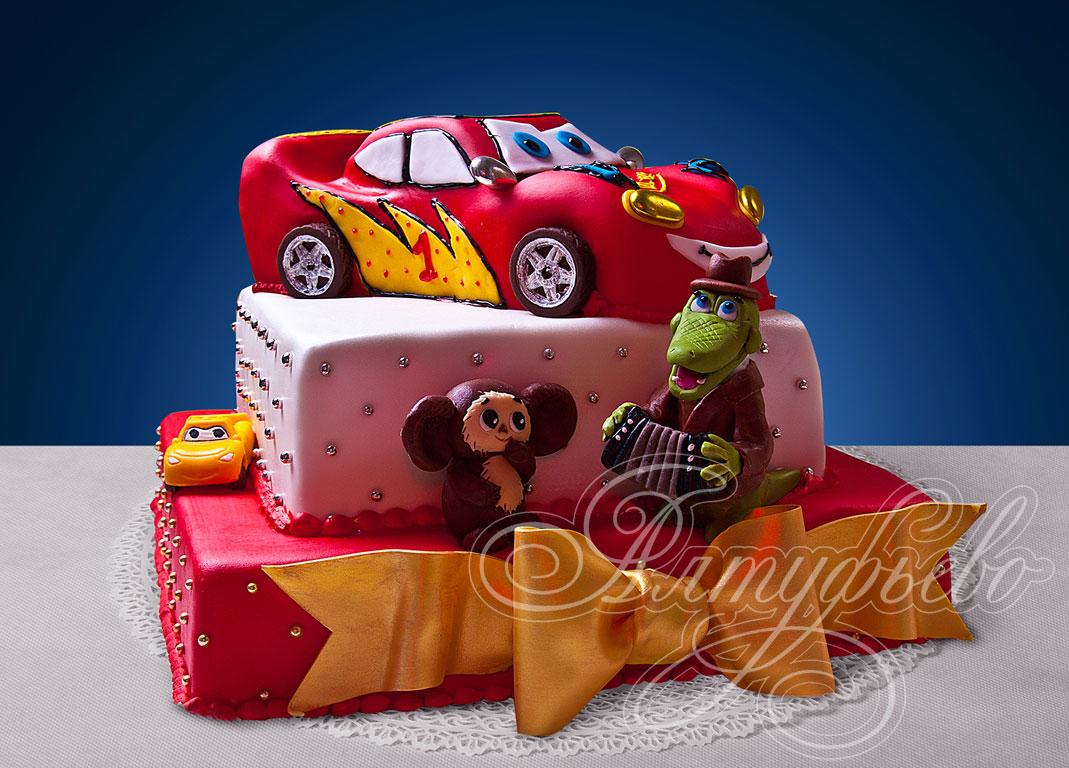 Детский торт «Чебурашка и крокодил Гена едут в круиз»